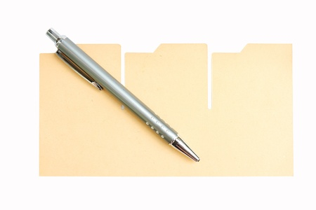 pen and brown paper on white Stock Photo - 11387866