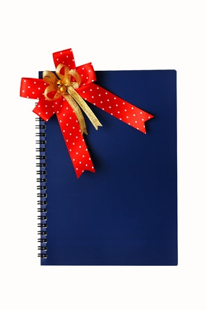 blue notebook with red ribbon on white background.
