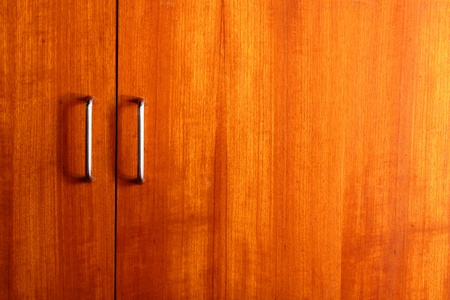 wooden wardrobe doors close up
