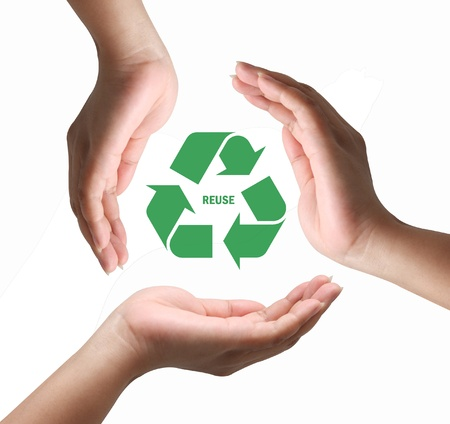 environmentalist tag: Hand holding Recycling symbol,hand hold recycle sign