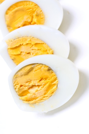 Shell boiled egg on white background