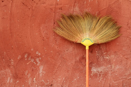 Broom and wall