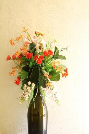 Vase with Plastic flowers photo