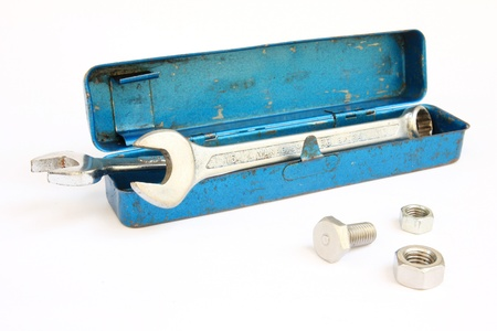 screwdriwer: A tools in old blue toolbox