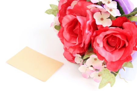 Blank card and rose,A greeting card. photo