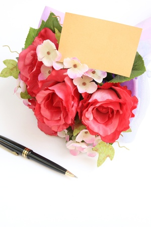 Blank card with pen and rose,A greeting card. Stock Photo - 12477807