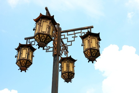 Chinese lamp and blue sky photo