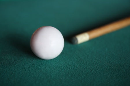 white pool balls with stick Stock Photo - 13503579