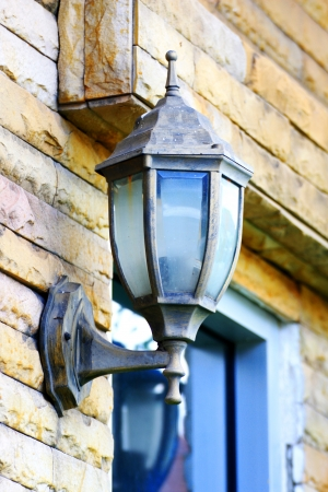 Vintage lamp on a brick wall Stock Photo - 14015009