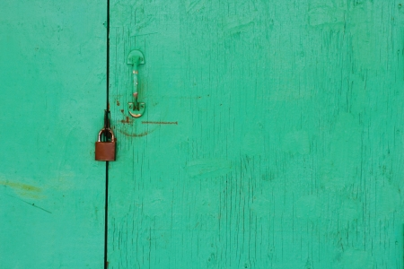Green door and locked photo