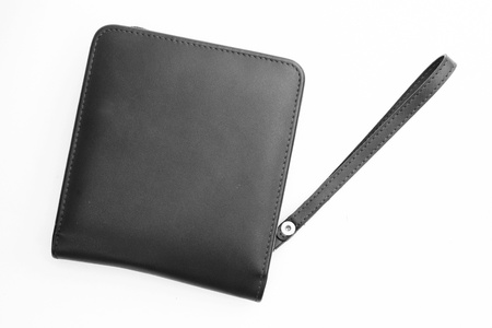 Black leather bag isolated on white background