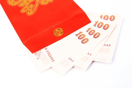 Red envelopes and money  photo