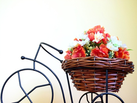bike with basket of flowers  photo