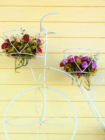 daisie: bicicletta con cesto di fiori Archivio Fotografico