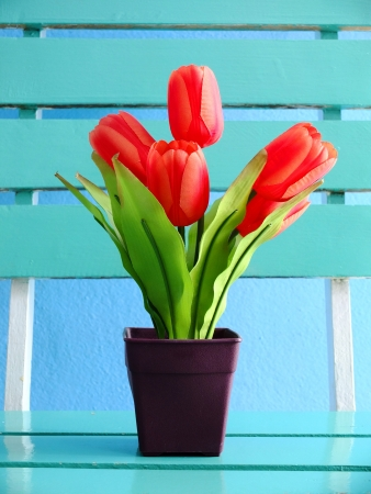 Tulips on the table,Decoration in room  photo