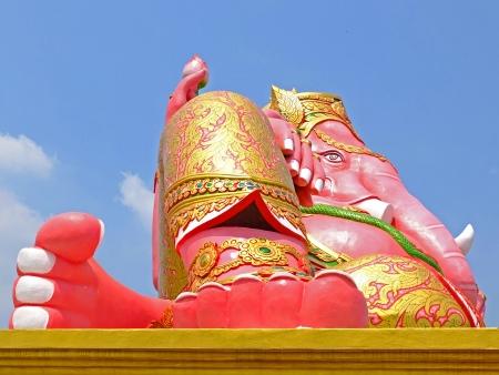 siddhivinayaka: big pink Ganesha in relax pose, thailand