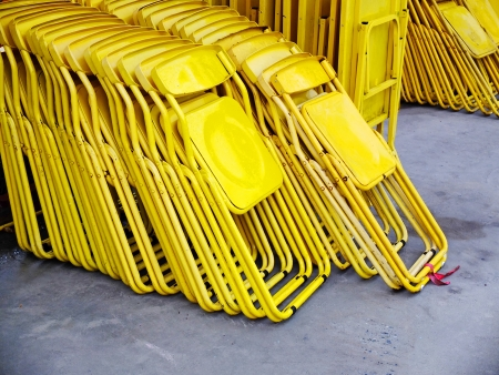 Folding chair - yellow chair photo