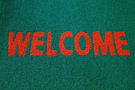 The Doormat of welcome text photo