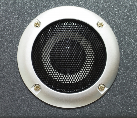 Closeup of black speaker photo