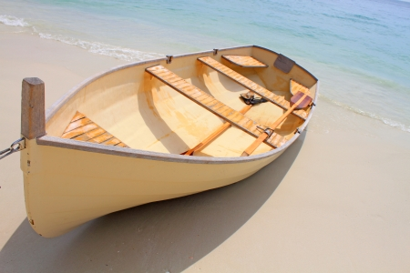 dingy: Rowboat on the beach