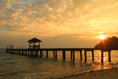 Wooden jetty over the beautiful sea Samed island in Thailand  Stock Photo