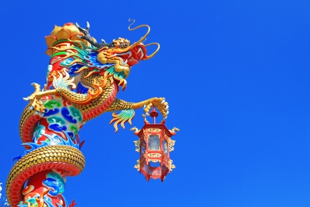 Dragon in chinese temple with blue sky
