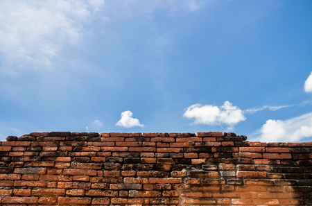 Red Brick in Ayutthaya for background  texture and wallpaper