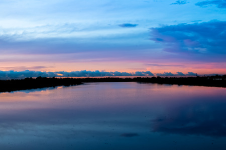 Landscape,Colorful morning sky Reflect on the water Stock Photo