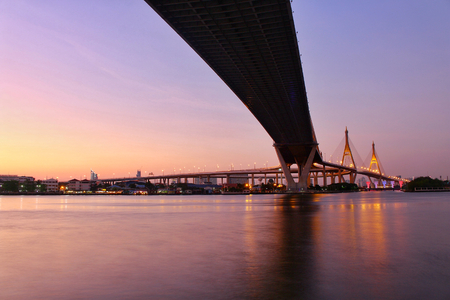 Landmark, Landscape,Ove Bhumibol Bridge On the banks of the Chao Phraya River at twilight in Thailand. Stock Photo