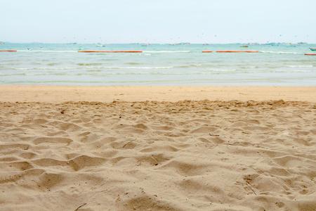 Sand at Pattaya beach viwe beautiful sea in summer of thailand