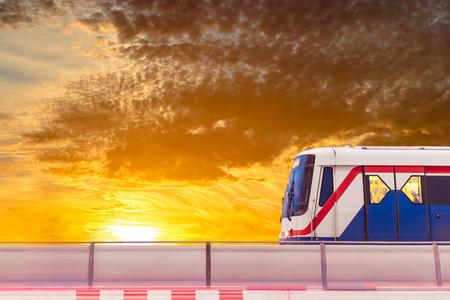 sky train at sunset