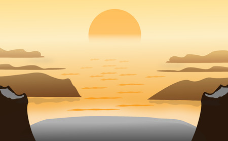 Seascape vector background, landscape mountains and sunset. Panorama of sunset