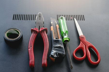 Set of Used electrical tools Professional for technician on top view on modern background 写真素材