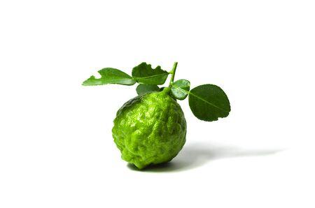 Green fresh bergamot fruit bergamia with leaf isolated on white background