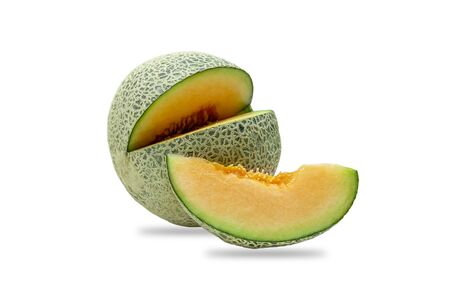 Ripe cantaloupe melon cut slice isolated on white background