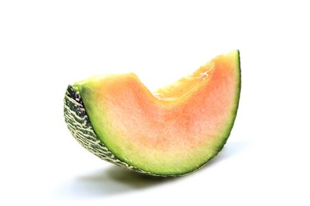 Melon Cantaloupe cut slice isolated on white background 版權商用圖片