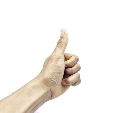 Men thumb hand very good hand symbol sign on white background 版權商用圖片