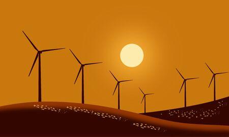 Silhouette wind turbines on mountain farmland grass field with sunset sky background. Vector illustration Design 矢量图像