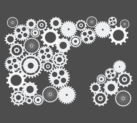 Cogs and gears. abstract background vector on isolated black background Stock Illustratie