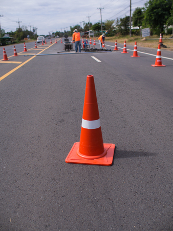 Traffic Cones Blocking The Road to The Roadworks