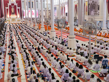 Meditators White Dress Buddhist Meditation Sitting Thousands of People in The Large Church Editorial