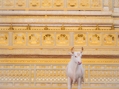 The Cow Angel Statue Eating Water in The  Himmapan Paradise on The Royal Crematorium : Bangkok : Thailand - December 11,2017 Archivio Fotografico