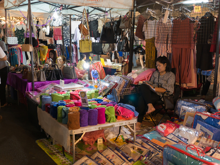 11 March'18 SroewGround Walking Street Buriram Province Thailand : Woman Monger Sitting Peacefully Waiting for Customers Editorial