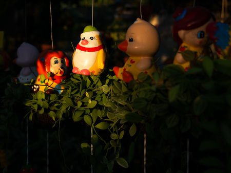 The Yellow Penguin Doll Hanging in The Garden 스톡 콘텐츠