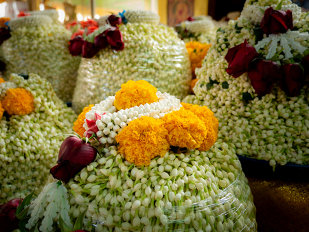 The Garlands in The Pile of Jasmines with Marigold to Worship The Buddha