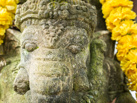 The Garland on The Old Stone Ganesha