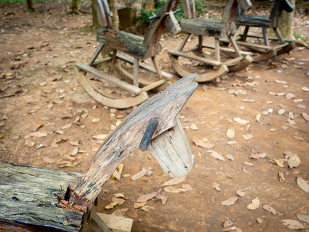 The Rocking Horse Made of Wood Arranging on The Ground