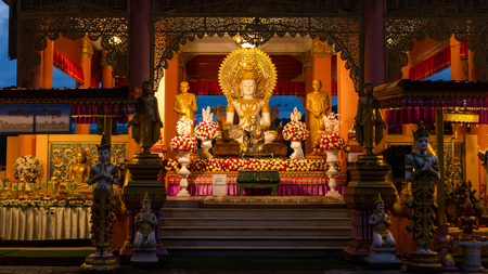 The Buddha Sitting in The Pavilion in The Northern Thailand, Thai Wording Invitation to Make Merit Imagens