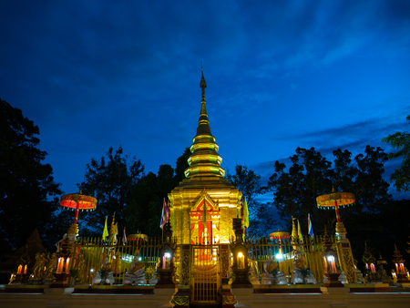 The Golden Pagoda on The Mountain in The North of Thailand