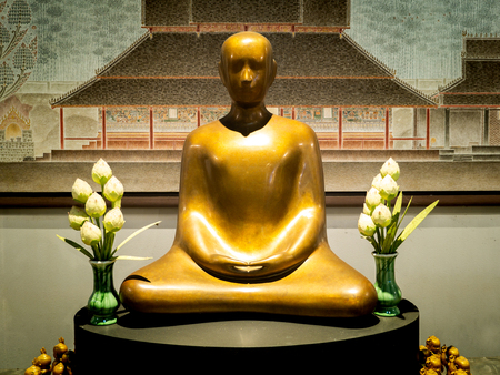 The Modern Art of Golden Buddha Statue Sitting in Chuntawan Temple at Chiang Rai Province Thailand , Architecture Plan in Background